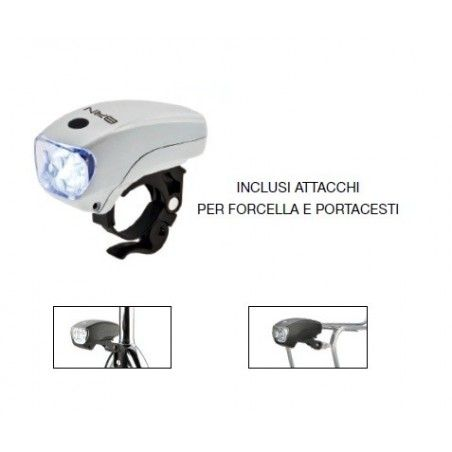FA91B Fanale 5 led Adventure bianco 3 funzioni negozio vendita accessori luci per bicicletta e bici