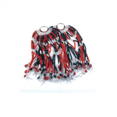 Net in elastic red / black stripes