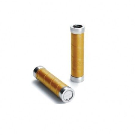 Brooks Leather grips with yellow ocher