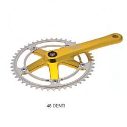 Crank (R + L) Sturmey Archer fixed Light yellow gold ped. 170 48 teeth