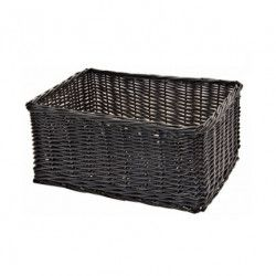 Wicker basket black rectangular