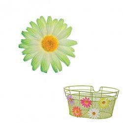 FI50V Fiore Margherita piccola verde per ornare cesto bici accessori colorati fiori plastica decorazioni