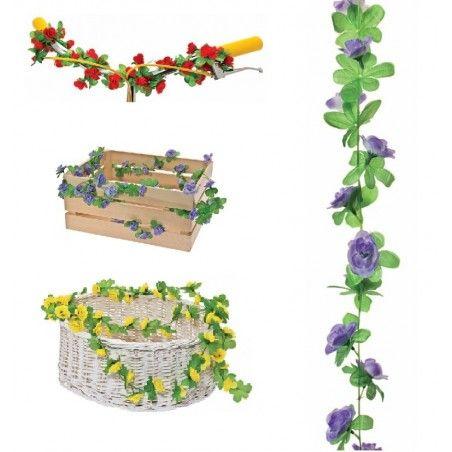 GH10L Ghirlanda con fiori viola per ornare cesto bici accessori colorati fiori plastica decorazioni