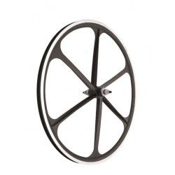 Couple Fixed alloy wheels, 30mm profile 6 fathoms, black color