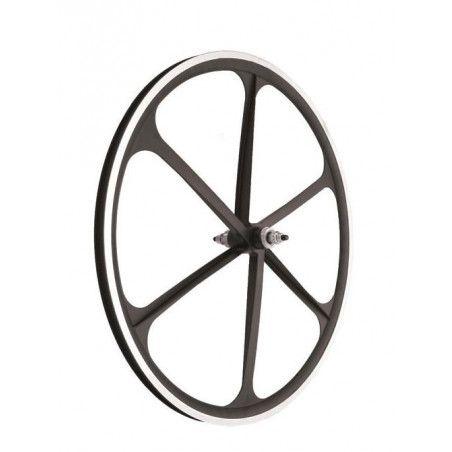 Couple Fixed alloy wheels, 30mm profile 6 fathoms, black color