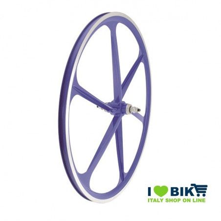 Couple Fixed alloy wheels, 30mm profile 6 fathoms, blue color