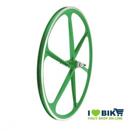 Couple Fixed alloy wheels, 30mm profile 6 fathoms, green color