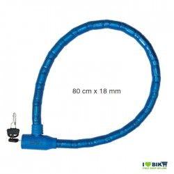 LU55B lucchetto blu a pitone doppio blindo colorato per bici negozio accessori ricambi vendita bici