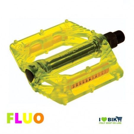 "Couple of Pedals Fixed / Bmx plastic pin with large 9/16 "" FLUO yellow"