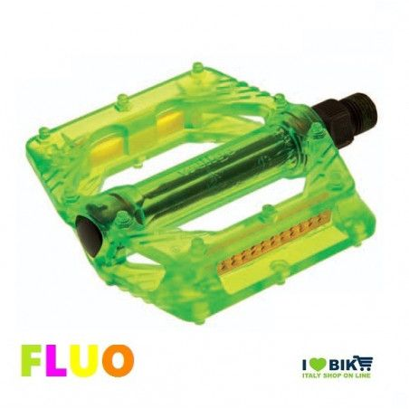 """Couple of Pedals Fixed / Bmx plastic pin with large 9/16 """" FLUO green"""