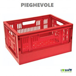 CE06R Cesto Cassetta pieghevole in plastica rosso accessori e ricambi bici negozio bici on line