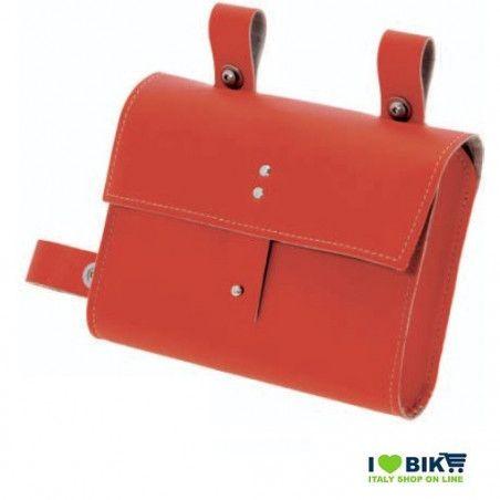 CE05R Borsa bicicletta Fixed al telaio in similcuoio rossa accessori e ricambi bici negozio bici on line