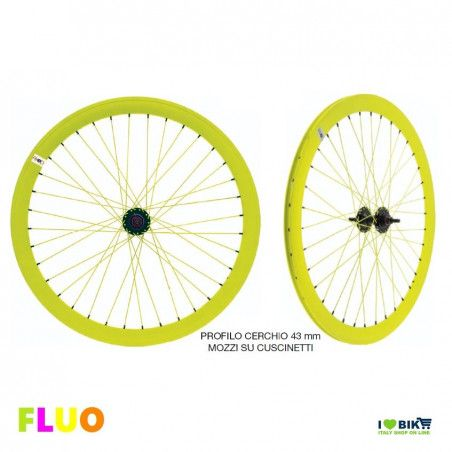 Pair Wheels Fixed FLUO yellow