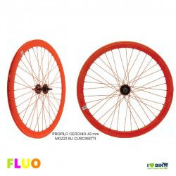 Pair Wheels Fixed FLUO orange