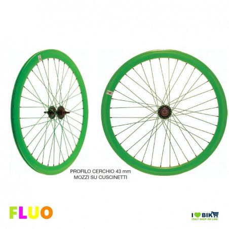 Pair Wheels Fixed FLUO green