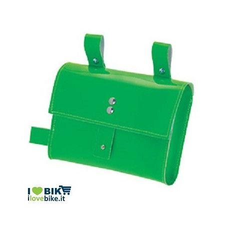 BO05FV fixed bike borsa verde fluo al telaio per bici corsa scatto fisso vendita ol line shop accessori