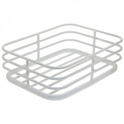 White alluminium basket at the rack
