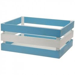 Wood basket Versilia Blue-White