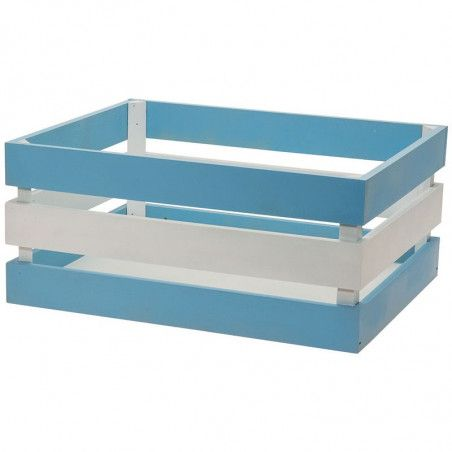 Wood basket Versilia Blue-White
