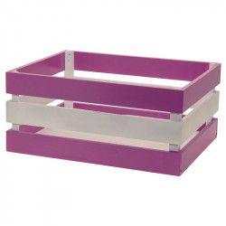 Wood basket Versilia lilac white