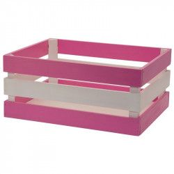 Wood basket Versilia pink white
