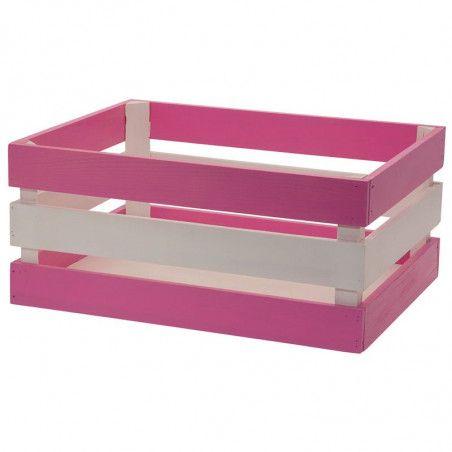 Wood basket Versilia pink white