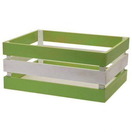 Wood basket Versilia green white