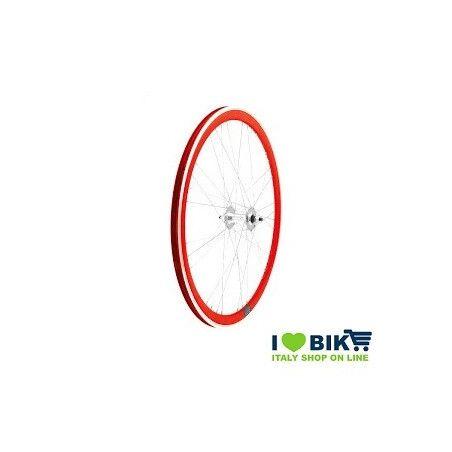40706RSSK Ruote Fixed raggi 9x4 su cuscinetti, profilo 40mm, colore rosso