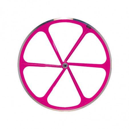 Couple Fixed wheels 6-spoke aluminum Fluo Fuxia pink