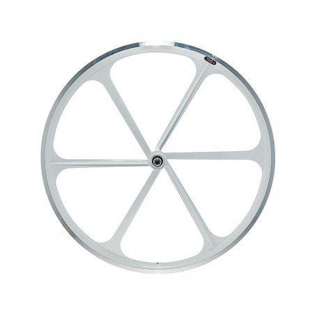 Fixed front wheel 6-spoke aluminum white
