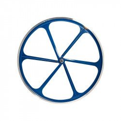 Fixed front wheel 6-spoke aluminum blue