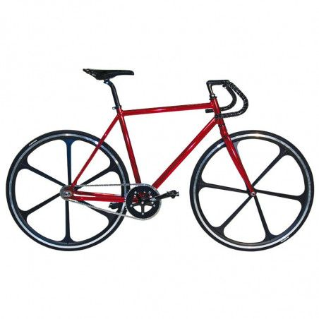 "Aluminum frame fixed cromovelato red size 56, Fork 1 ""threaded"