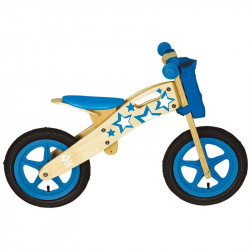 Bicycle without pedals NATURAL WOOD Blue Star