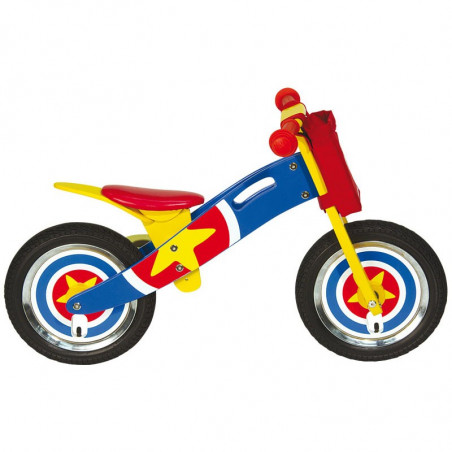 Bicycle without pedals NATURAL WOOD Captain America