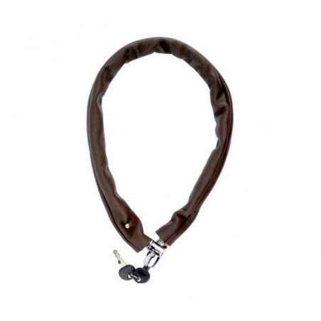 Padlock chain covered in brown leather
