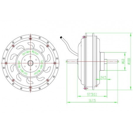 """Wheel rear 24 """" with Engine Smart Pie 4 electric 250-900"""