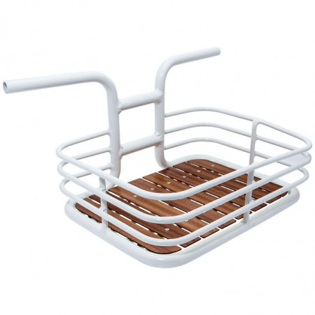 Cage Vintage basket in white aluminum with wooden base line sale