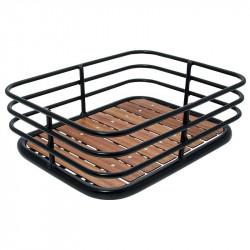 Cestino vintage Cage in alluminio nero con base in legno online shop