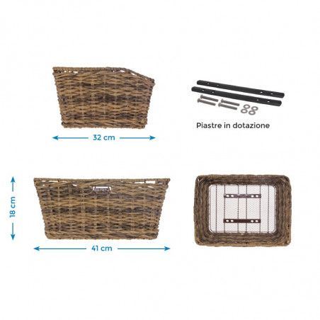 Rattan rectangular basket BRN brown