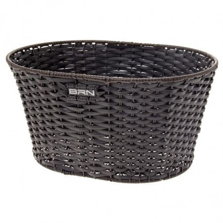 Basket in Faux Leather round black
