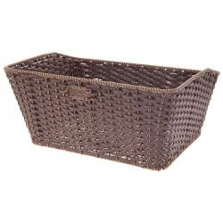 Basket in Faux Leather rectangular brown