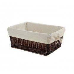 Small brown wicker basket with liner