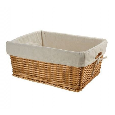 Large wicker basket with liner