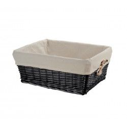 Small black wicker basket with liner