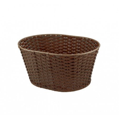 Basket in Faux Leather round brown