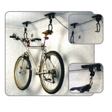 Portaciclo ceiling with pulley to raise / lower the bike