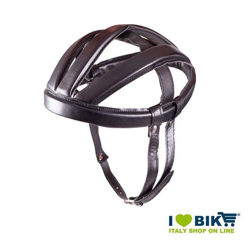 Casco Ciclismo BRN VINTAGE Veloce in vinpelle, taglia unica 60 cm, nero