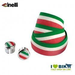 Nastro manubrio Cinelli Classic Eva Flag con tappi tricolore italiano