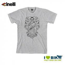 Maglietta Cinelli Crest maniche corte, in cotone, grigia