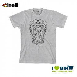T-shirt Cinelli Crest, cotton, short sleeves, grey